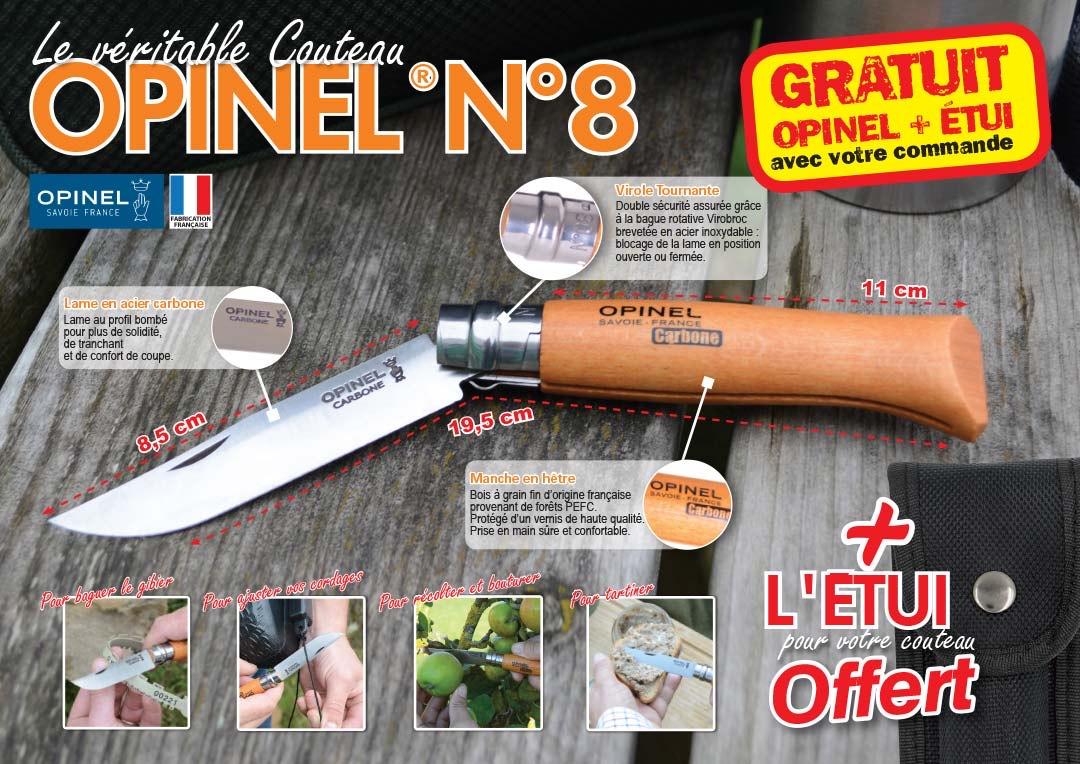 Couteau Opinel N°8 + étui offert pour toute commande de 7 € minimum