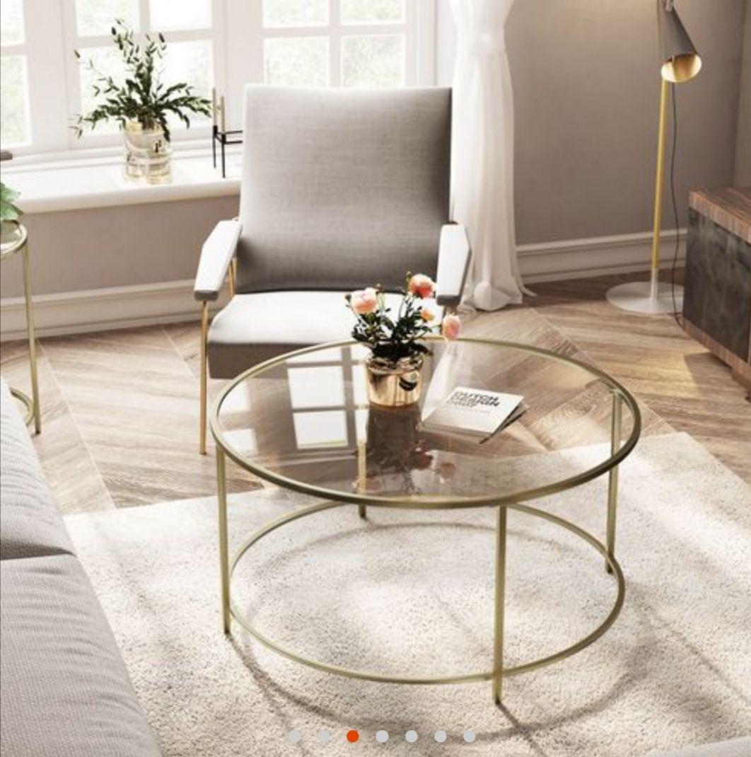 Table basse ronde doré en verre Songmics Vasagle - 84 x 84 x 45.5 cm (songmics.fr)
