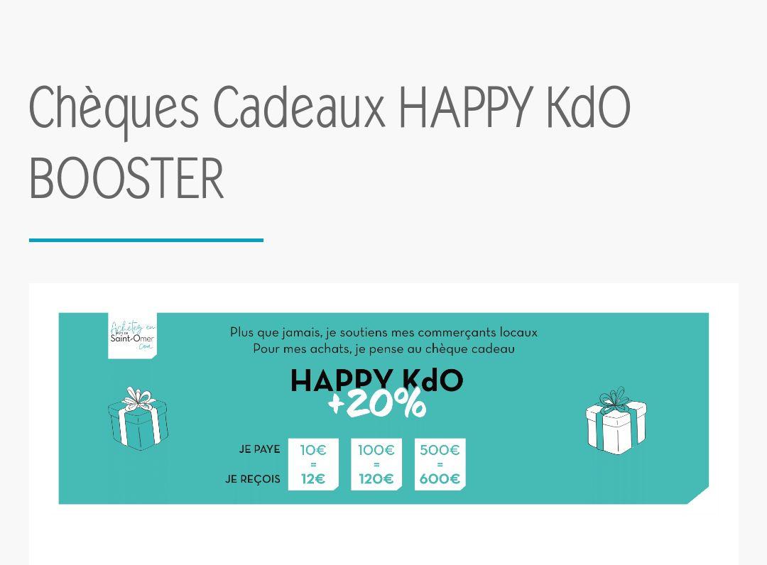 20% supplémentaire sur le montant acheté en chèques cadeaux Happy Kdo - Saint-omer (62) - AchetezEnPaysDeSaintOmer.com