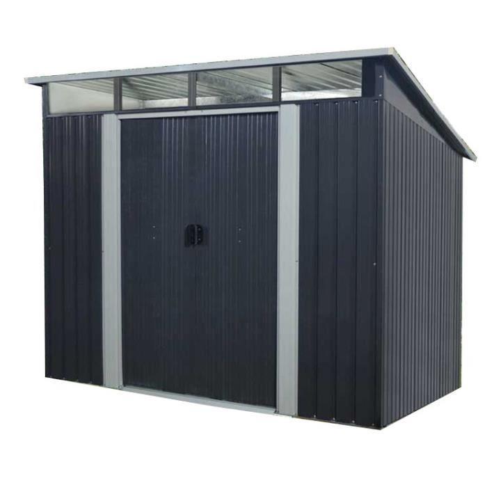 Abris de jardin avec 2 portes coulissantes - en acier, 4.59 m², gris (+ 10.5€ en cagnotte pour les membres CDAV)
