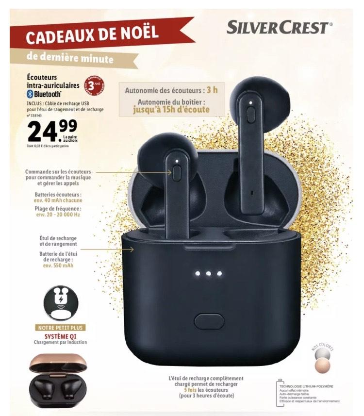 Écouteurs intra-auriculaires sans fil Silvercrest - Bluetooth