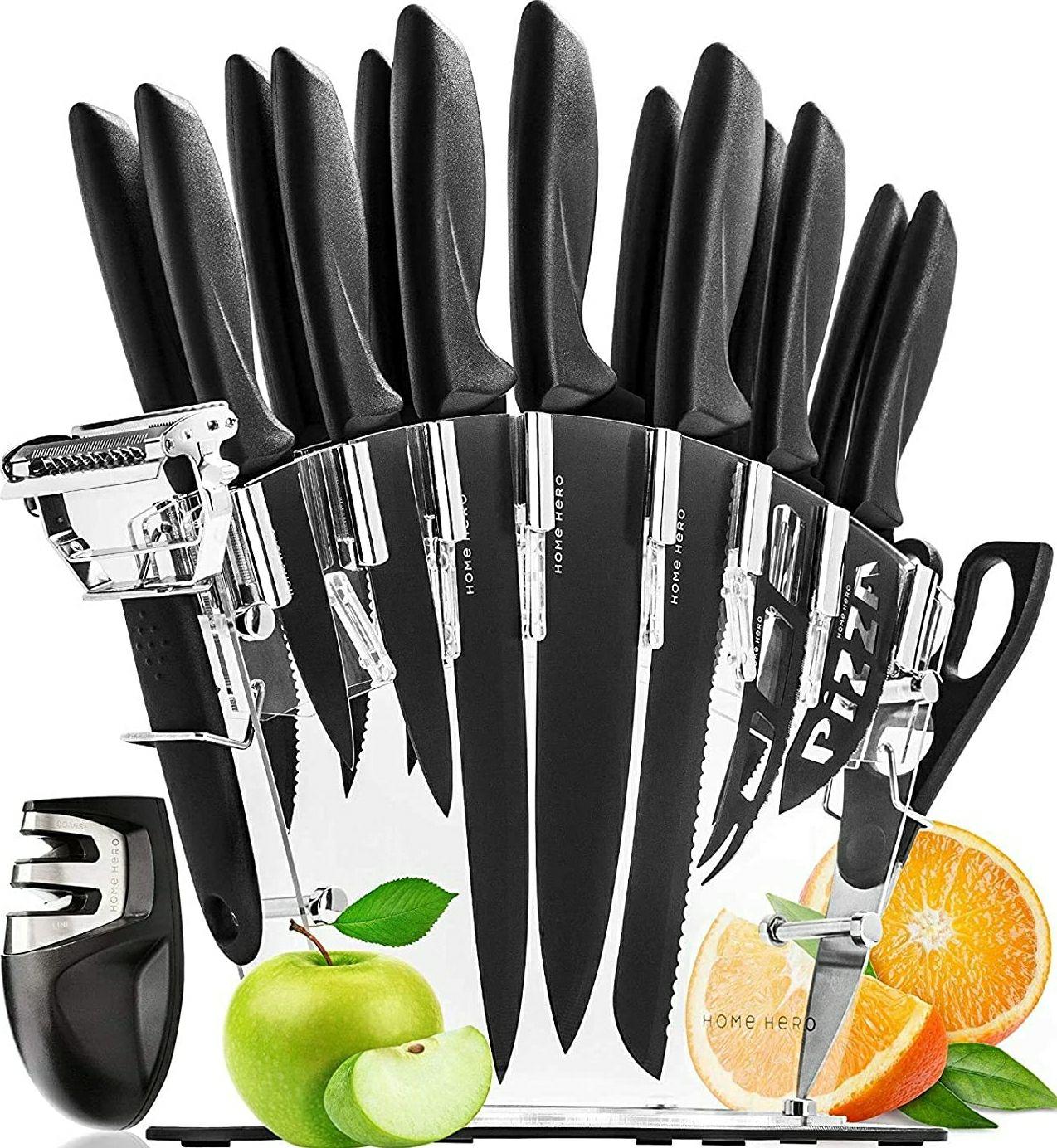 Set dee 13 Couteau De Cuisine en Inox Home Hero + Bloc Couteaux + Ciseaux + Éplucheur + Aiguiseur (Vendeur tiers)