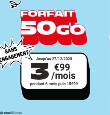 [Nouveaux clients] Forfait mensuel NRJ Mobile appels/SMS/MMS Illimités + 50 Go DATA France + 5 Go EU/DOM - pendant 6 mois (sans engagement)