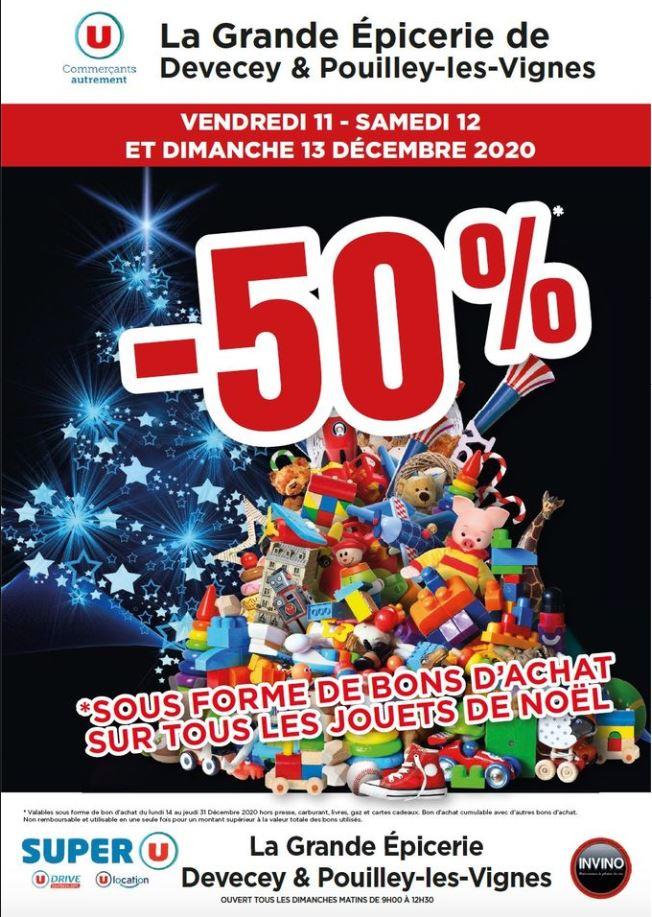 50% remboursés en bon d'achat sur le rayon Jouets - Devecey (25)