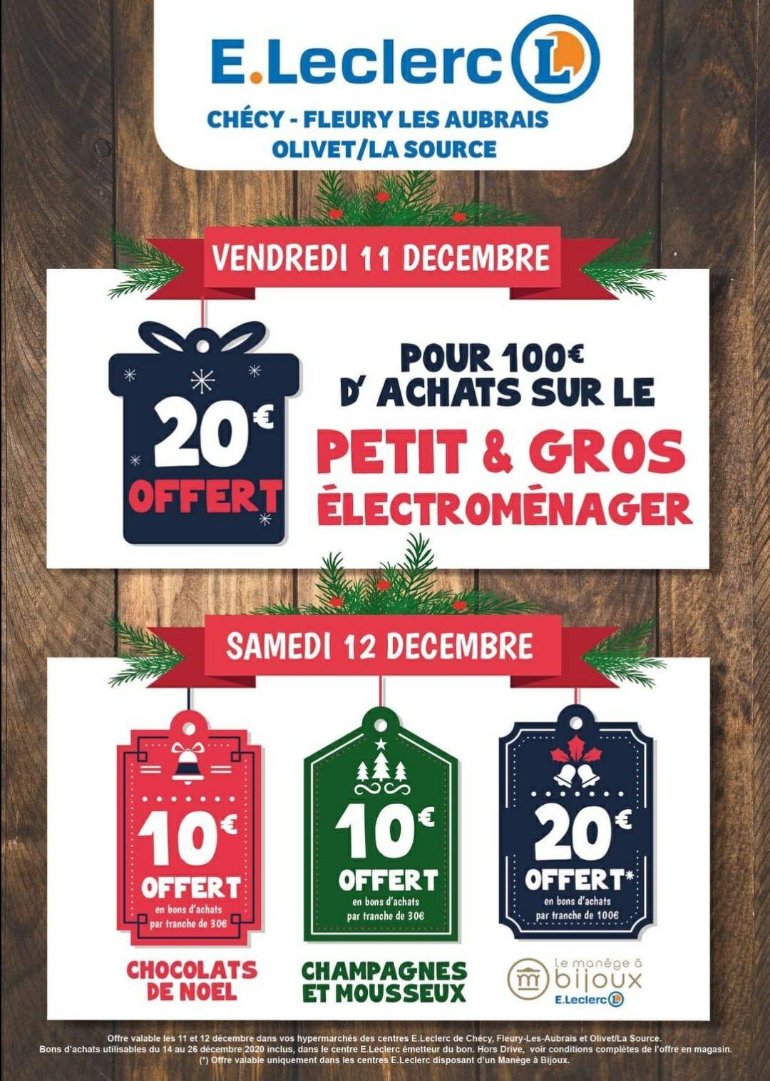 20€ offerts en bon d'achat tous les 100€ sur le rayon Electroménager - Leclerc Chécy/Fleury/Olivet LS (45)