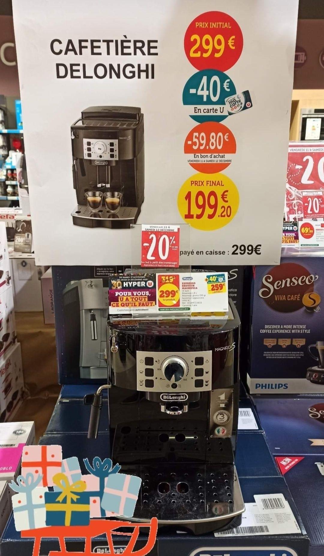 Machine à café automatique Delonghi ECAM 22.140B (Via 40€ sur la carte fidélité + 59.80€ en bon d'achat) - Chateaugiron (35)