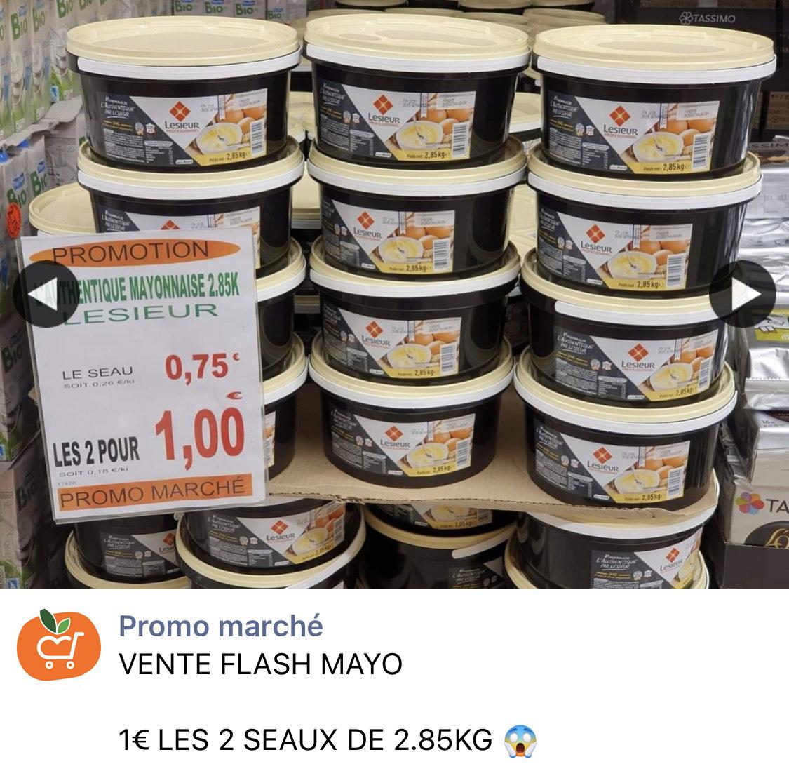 2 seaux de 2.85kg de mayonnaise Lessieur - Promo Marché Betheny (51)