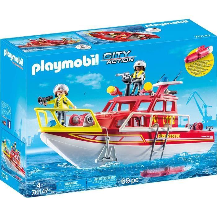 Jouet Playmobil City Action 70147 - Bateau de sauvetage et pompiers