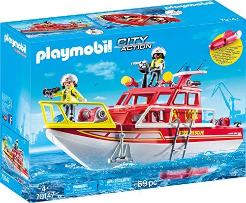 Jouet Playmobil City Action (70147) - Bateau de Sauvetage et Pompiers