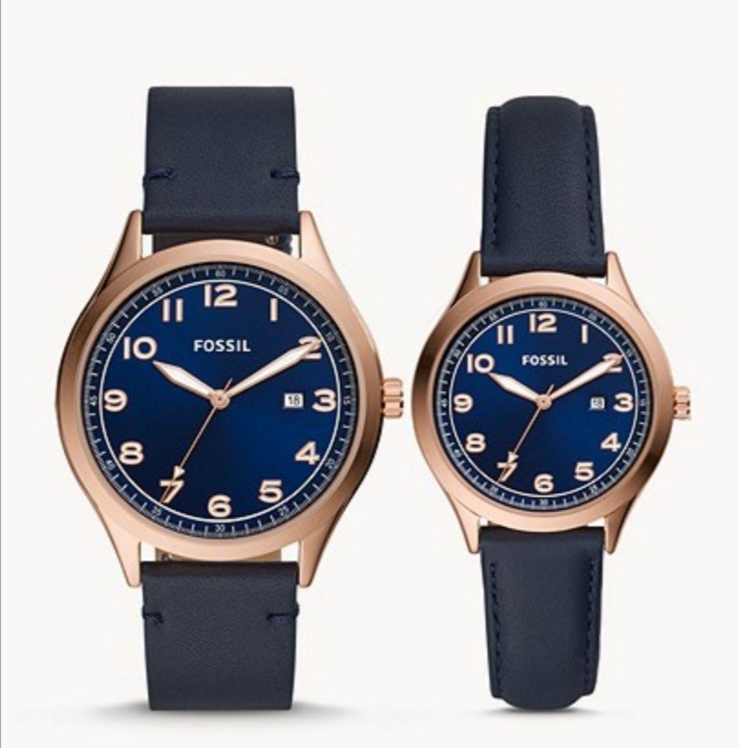 Coffret cadeau avec montres quartz Fossil Wylie à trois aiguilles pour Elle et Lui