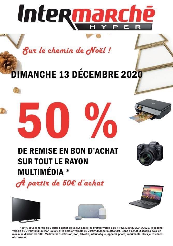 50% offerts en 3 bons d'achat sur le rayon Multimédia dès 50€ d'achat (Hors exceptions) - Les Longs Champs (35)