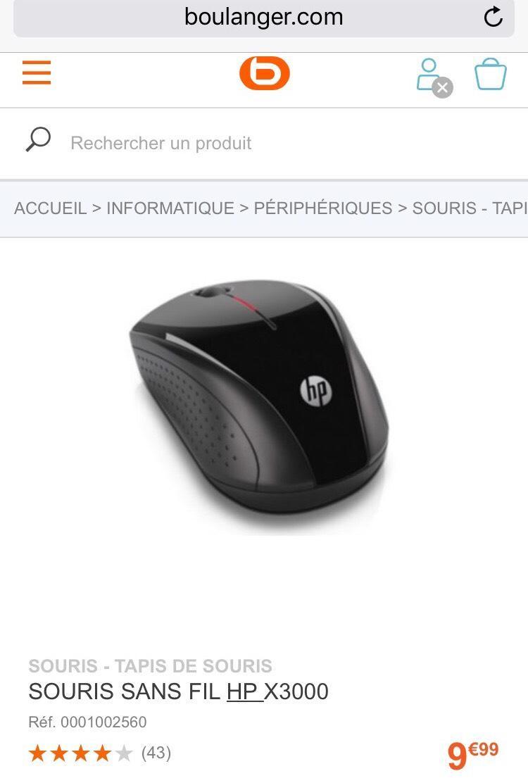 Souris sans fil HP x3000
