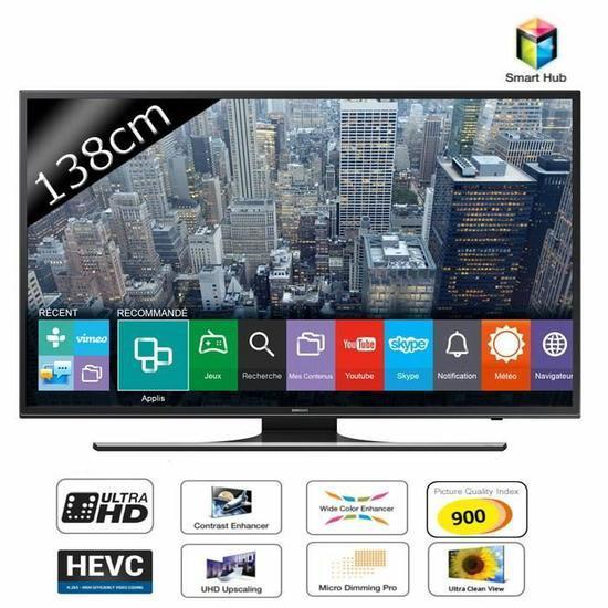 """TV 55"""" Samsung  UE55JU6400 -  Smart TV LED UHD 4K (+ 2 bons d'achats de 112.50€ et via ODR 10%)"""