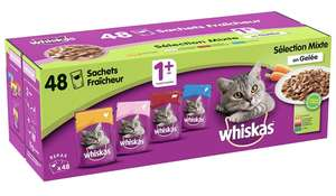 48 sachets fraicheurs Whiskas Sélection Mixte en Gelée