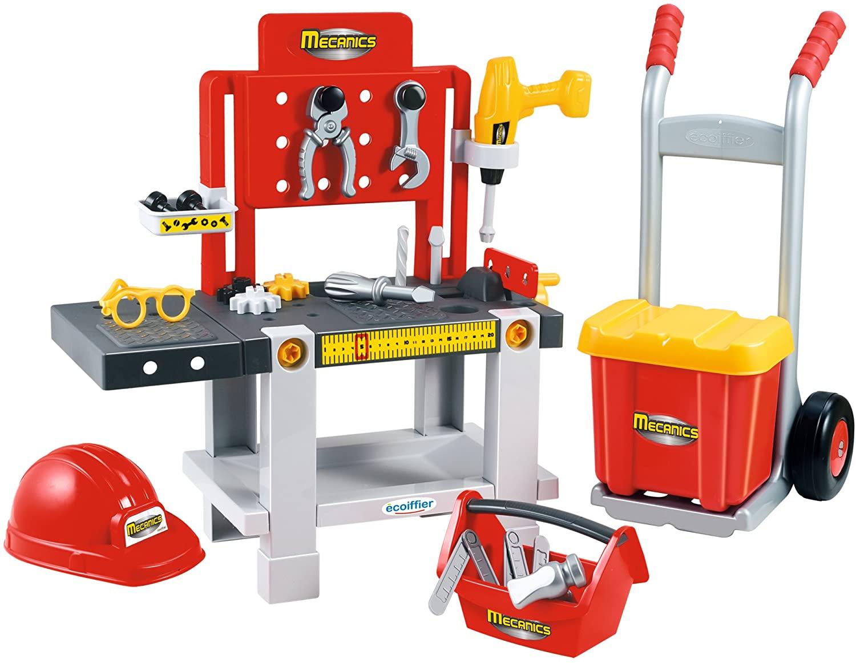 Ensemble Établi + caisse à outils + diable pour enfants Mecanics Ecoiffier