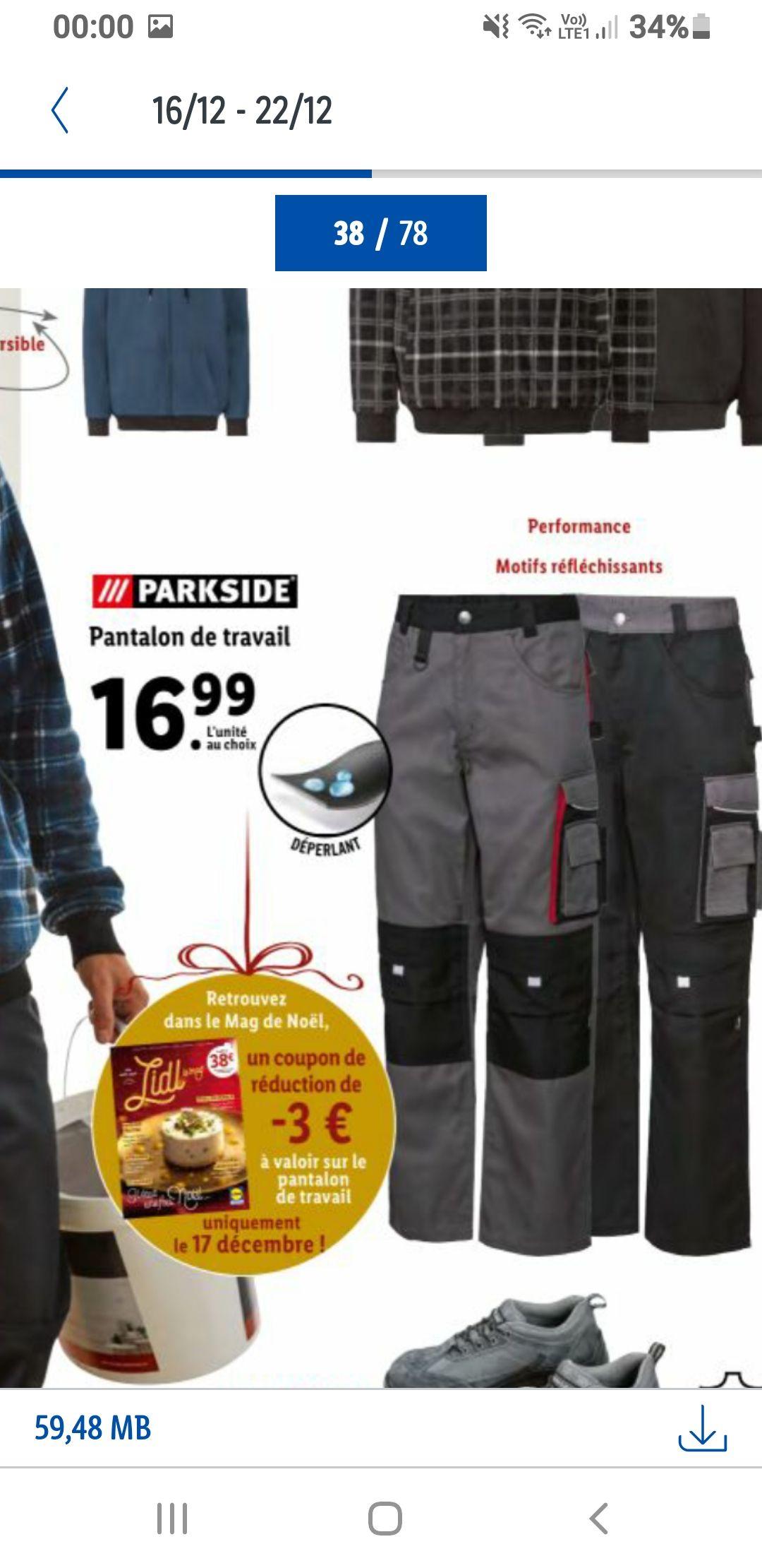 Pantalon de travail Homme (Via Coupon)