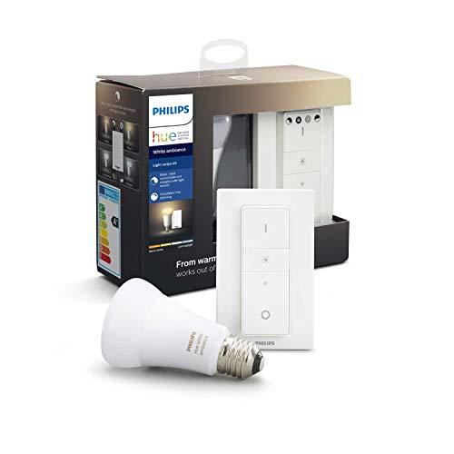 Ampoule connectée Philips Hue White Ambiance (E27) + Télécommande variateur de lumière