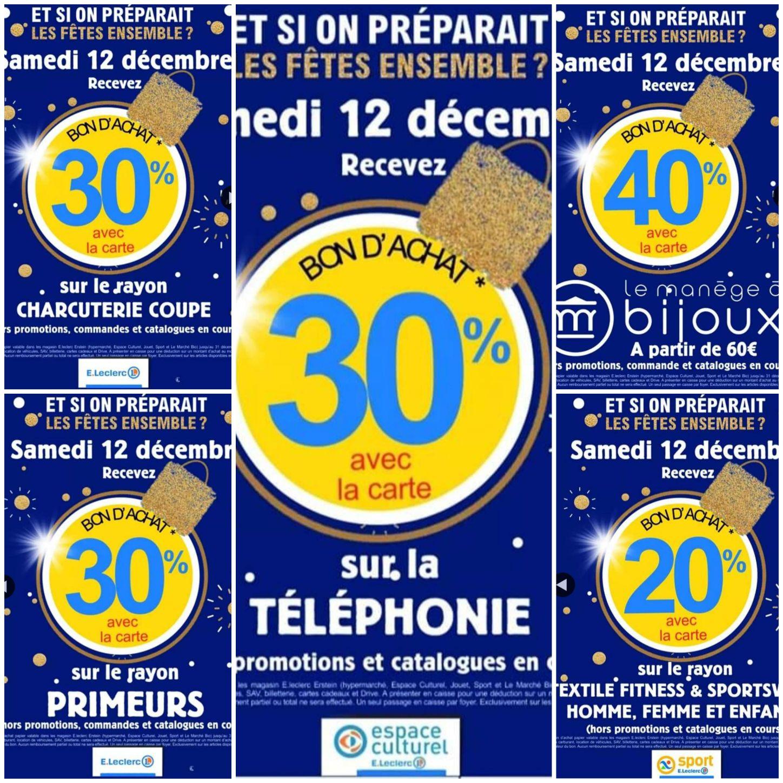 Sélection d'offres promotionnelles - Ex : 30% offert en bon d'achat sur les rayons Charcuterie coupe et Primeurs - Erstein (67)