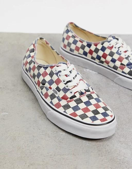 Chaussures Vans Authentic à Carreaux effet délavé