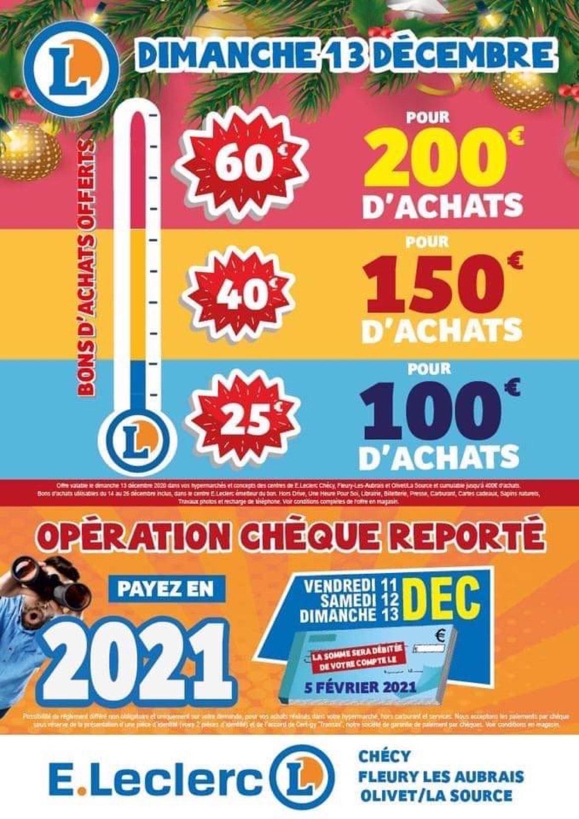 25 dès 100€ d'achat, 40€ dès 150€ et 60€ dès 200€ en bon d'achat sur tout les magasins - Orléans (45)