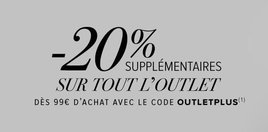10€ de réduction dès 50€ d'achat sur une sélection de vêtements ou 20% de réduction  supplémentaire sur la catégorie Outlet dès 99€ d'achat