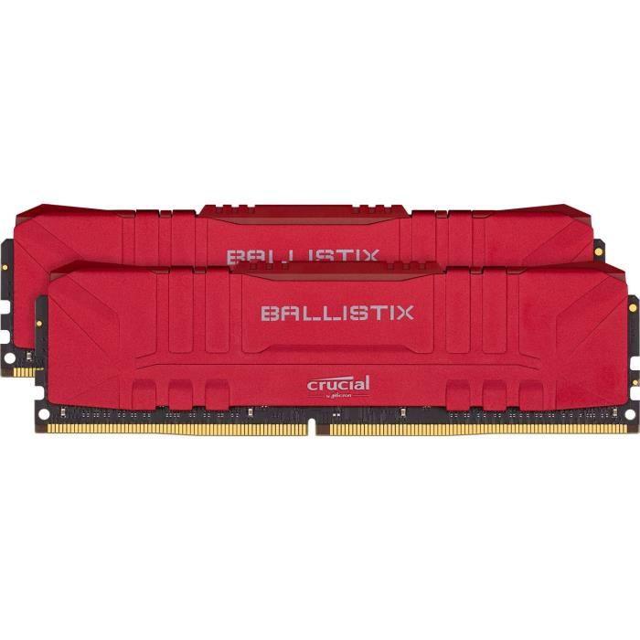 Kit Mémoire Crucial Ballistix Rouge BL2K8G32C16U4R - 16 Go (2 x 8 Go), DDR4, 3200 MHz, CL16