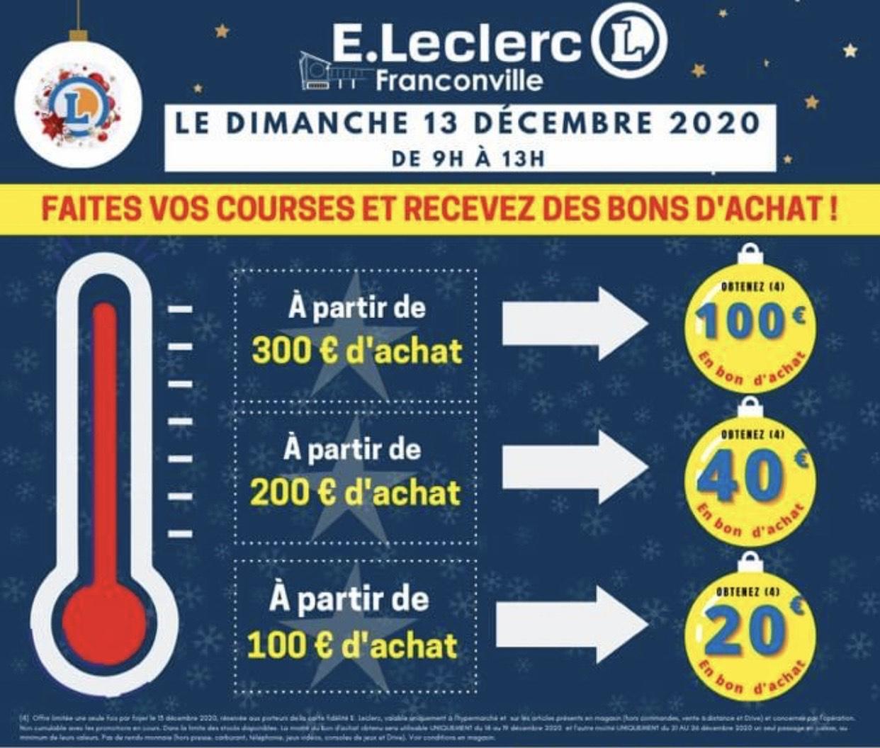 20€ en bon d'achat dès 100€, 40€ dès 200€ et 100€ dès 300€ d'achat en magasin - Franconville (95)