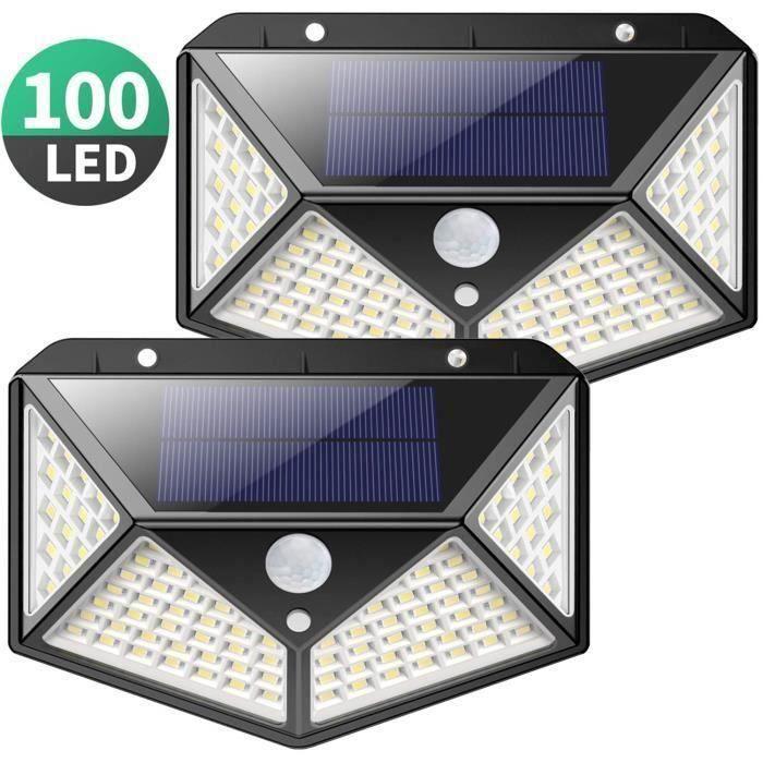 Lampe Solaire Extérieur 100 LED 2 Pack Détecteur de Mouvement éclairage 270° étanche 2200mAh sans Fil (Vendeur tiers)