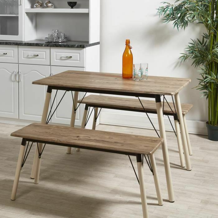 Ensemble table et chaises de 4 à 6 personnes Brantford - Contemporain en métal ivoire et MDF gris, L 110 x l 70 cm