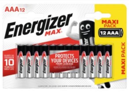 Pack de 12 Piles Energizer MaxAAA LR03 (Via 4.95€ sur Carte Fidélité)