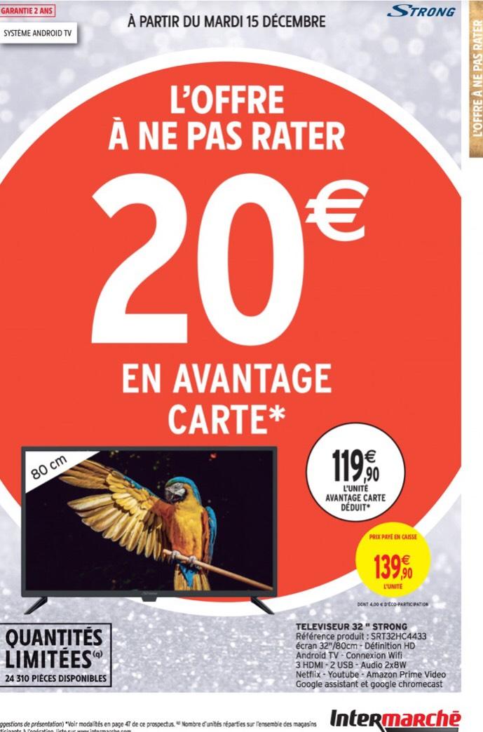 """TV 32"""" Strong SRT32HC4433 - HD, HDR10, Android TV (Via 20€ sur la carte fidélité)"""