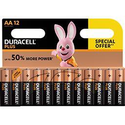 2 packs de 12 piles alcalines AA Duracell Plus