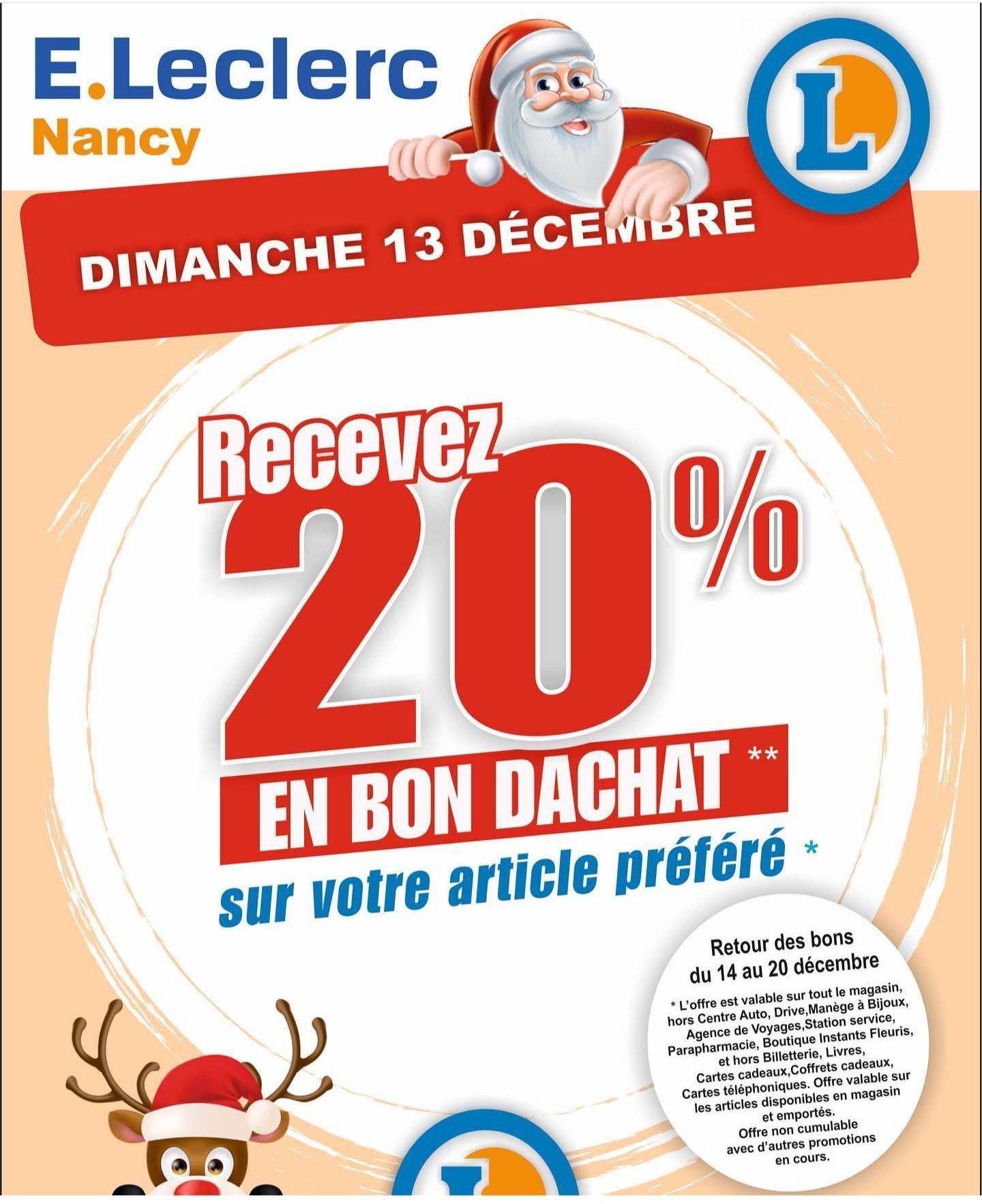 20% offert en bon d'achat sur l'article de votre choix - Leclerc Nancy (54)