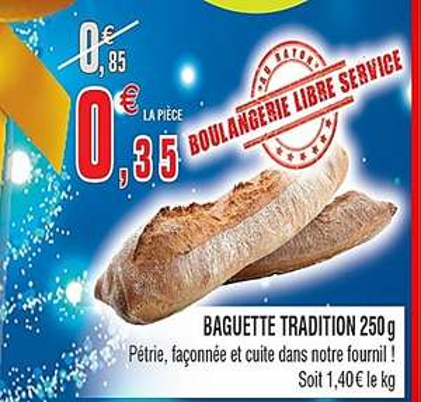Baguette Tradition (l'unité) - Bar-le-Duc (55)