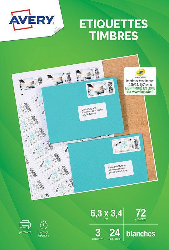 Pochette de 72 Etiquettes spéciales pour timbres Avery