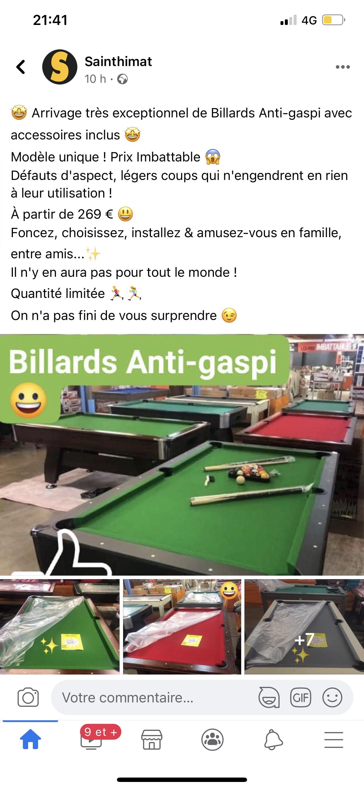 Sélection de billards avec défaut/chocs minime en promotion -- Sainthimat Caudry (59)