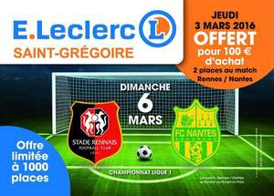 2 places de foot pour le match Rennes - Nantes offertes dès 100€ d'achat