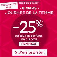 25% de réduction sur les parfums Homme et Femme
