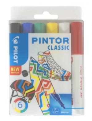 Pochette de 6 marqueurs peinture Pintor Pilot à pointe fine (avec ODR 5€)