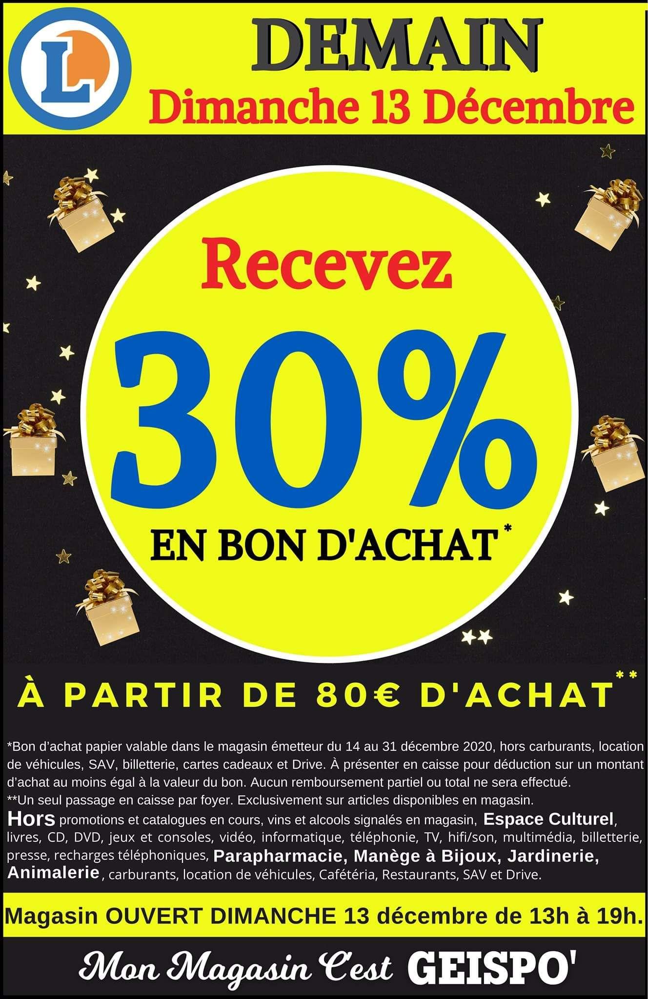 30% de réduction en bons d'achats dès 80€ d'achats (Hors exceptions) - Geispolsheim (67)