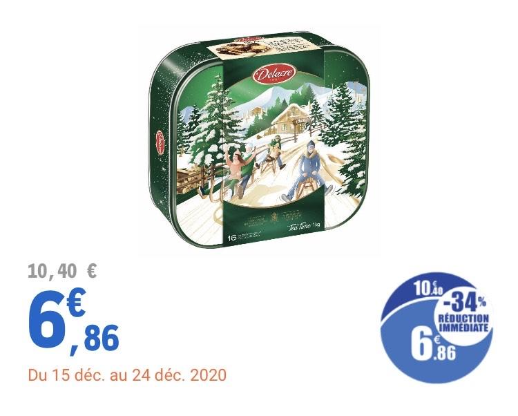 Boîte biscuits Delacre Tea time winter ou Tea time gold - 1 kg