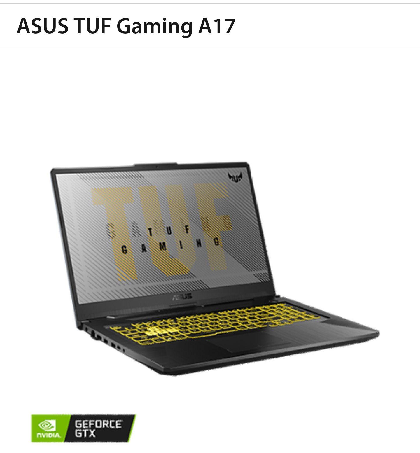 "PC Portable 17.3"" Asus TUF Gaming A17 - Full HD, Ryzen 7 4800H, 8 Go RAM, 512 Go SSD, GTX 1650 Ti, Windows 10"