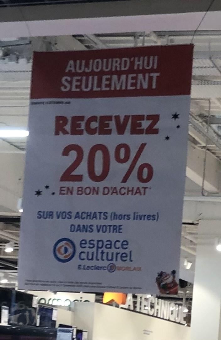 20% de réduction en bon d'achat sur l'Espace Culturel - Morlaix (29)