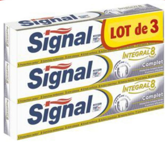 Lot 3 Tubes de Dentifrices Signal Integral 8
