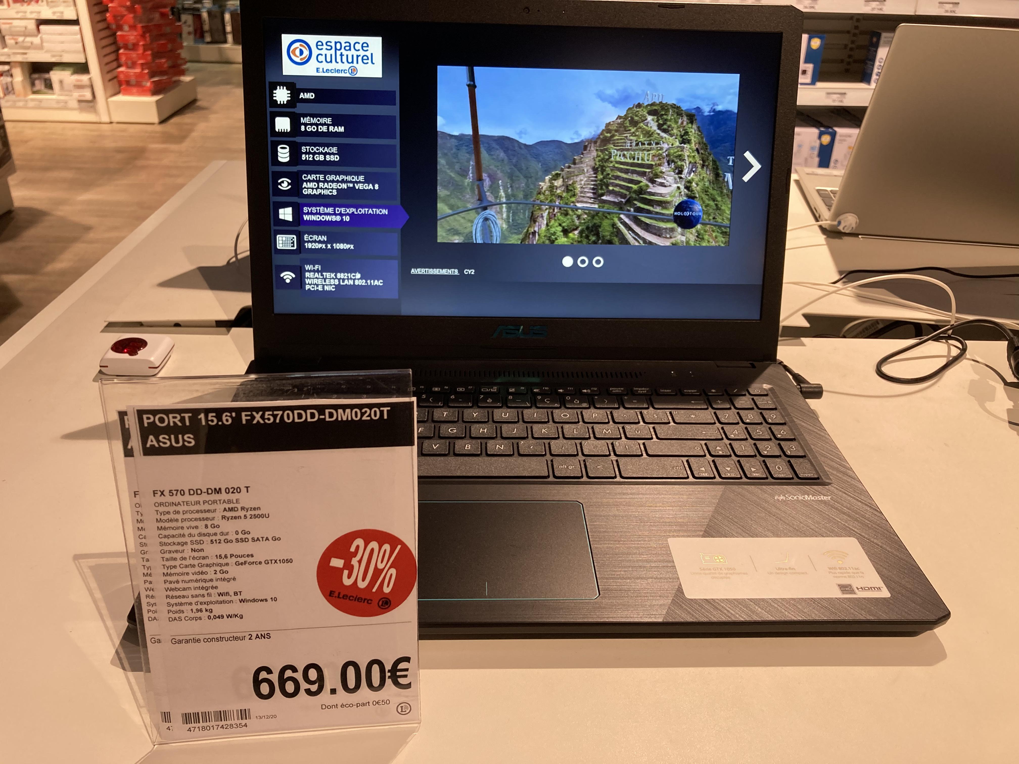 "Pc Portable 15"" Asus FX570DD-DM020T -R5-2500U, 8 Go de RAM, SSD 512 Go, GTX 1050 (2 Go), Windows 10(via 200€ en bon d'achat) - L'aigle (61)"