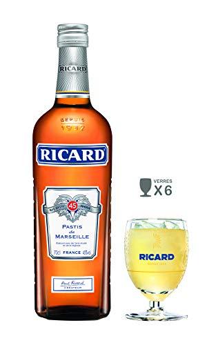 Pastis De Marseille Ricard 70 cl + 6 Verres