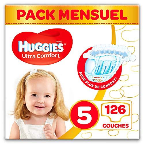Pack 1 Mois de Couches Bébé Unisexe Huggies Ultra Comfort - Taille 5 (11-25 kg), 126 Couches