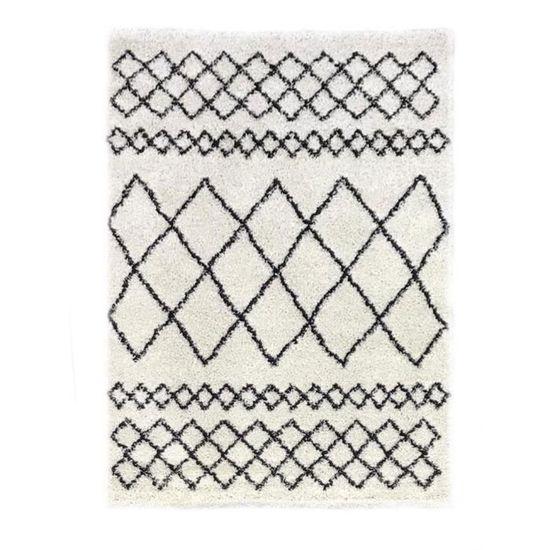 Tapis Nazar Shaggy New Asma - 150 x 220 cm, Beige crème et gris anthracite