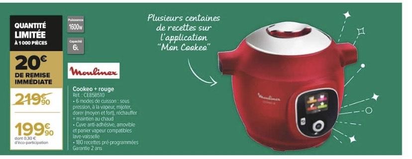 Multicuiseur intelligent Moulinex Cookeo CE858510 - Rouge
