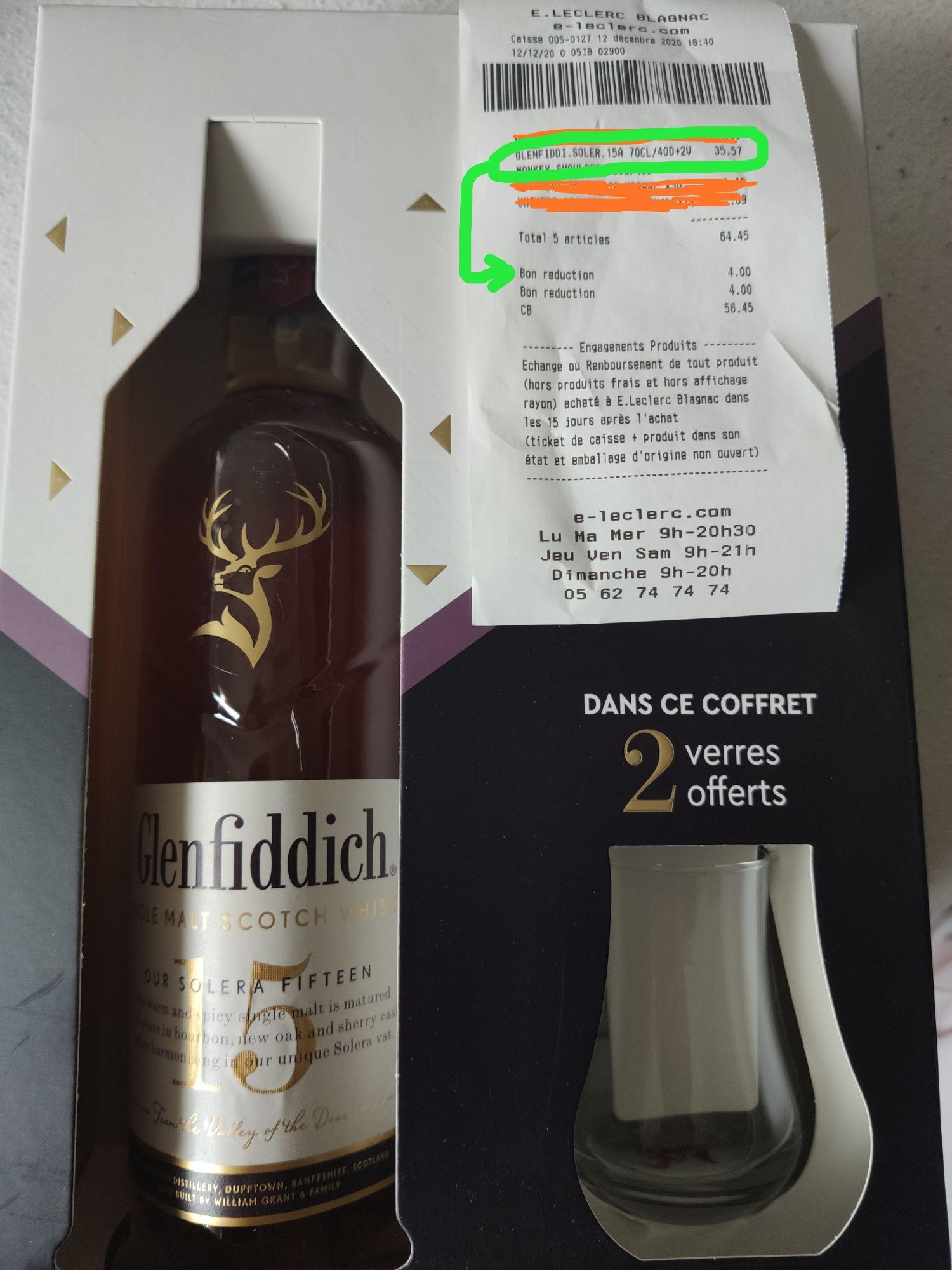 Coffret Whisky Glenfiddich 15 ans Single Malt + 2 verres offert (4€ de réduction sur demande au chef de rayon) - Leclerc Blagnac (31)